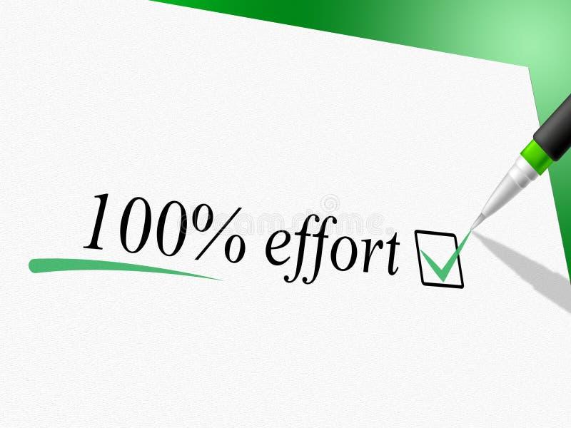 Cem por cento de esforço mostram o trabalho duro e completamente ilustração royalty free