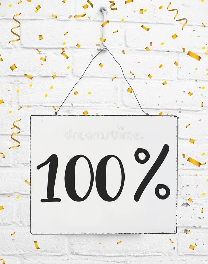 Cem por cento de 100% fora do disconto preto da venda 100% de sexta-feira dourado fotografia de stock royalty free