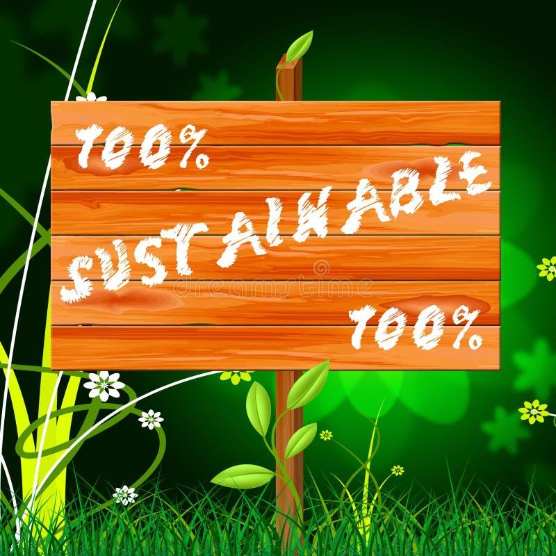Cem por cento indicam a sustentação sustentável e o Eco ilustração do vetor