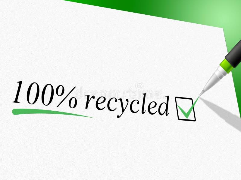 Cem por cento reciclados representam vão verde e bio ilustração stock