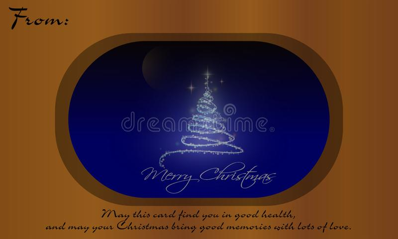Christmas Tree On Glass And Words Of Wisdom. Merry Christmas On Brown Background with Christmas trees glow full of stars and snowflakes. Xmas Card. Words Of stock illustration