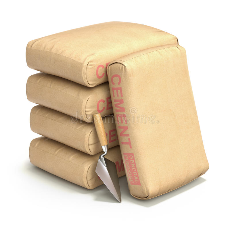 Cement bags with the trowel. Cement bags with trowel on white background - 3D illustration stock illustration
