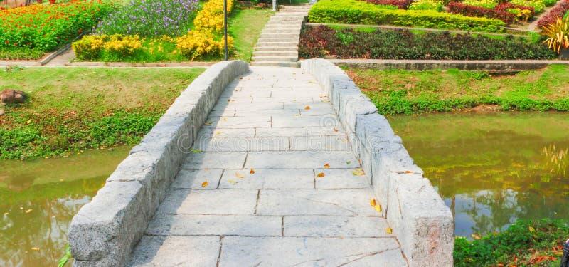 Cement Bridge, Pathway To Flower Garden Stock Photo ...