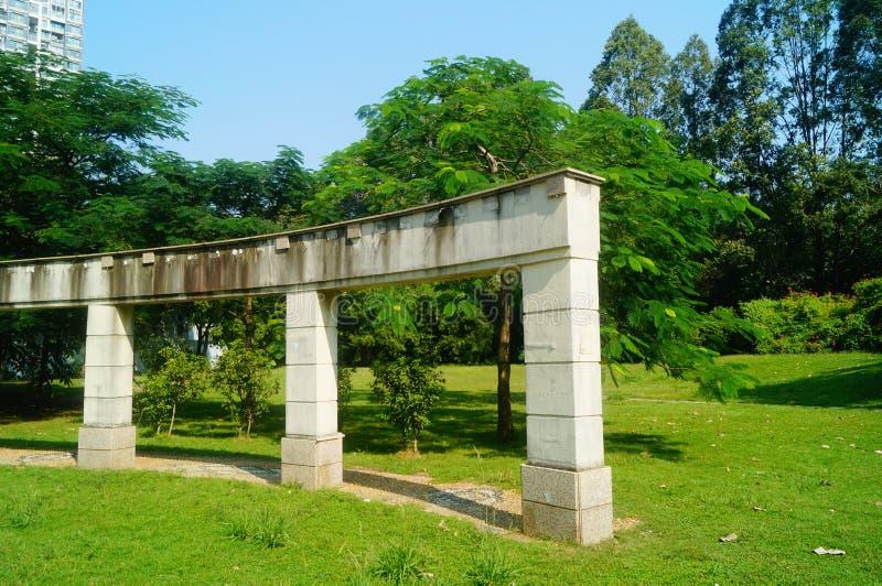 Cement building pillar landscape, in the park stock image