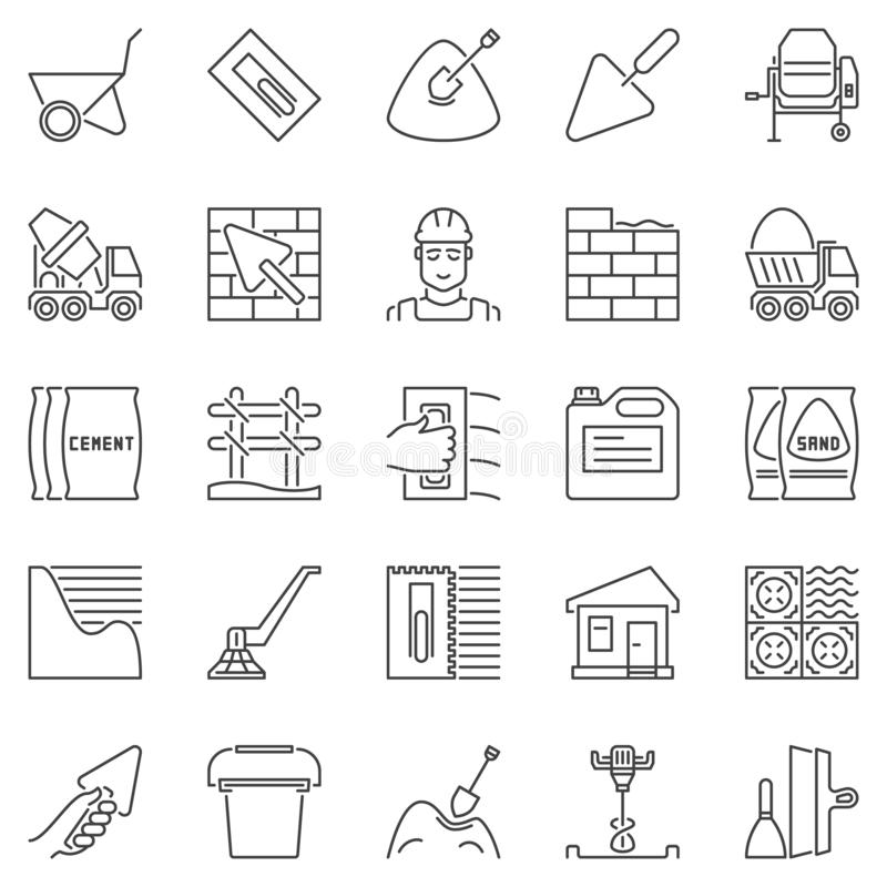 Cement and Concrete outline icons. Vector construction signs. Cement and Concrete outline icons set. Vector construction concept symbols in thin line style royalty free illustration