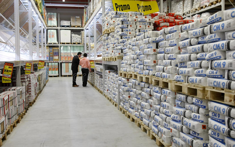 Cement and construction materials store stock photo