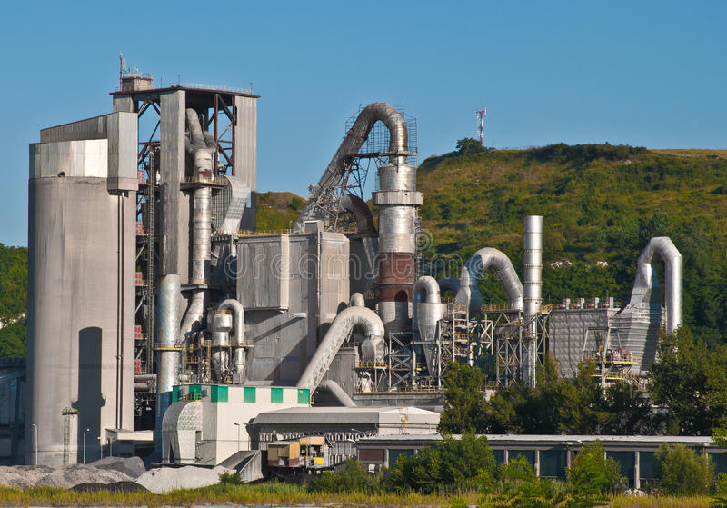 Cement factory. Part of cement factory in mountain royalty free stock photos