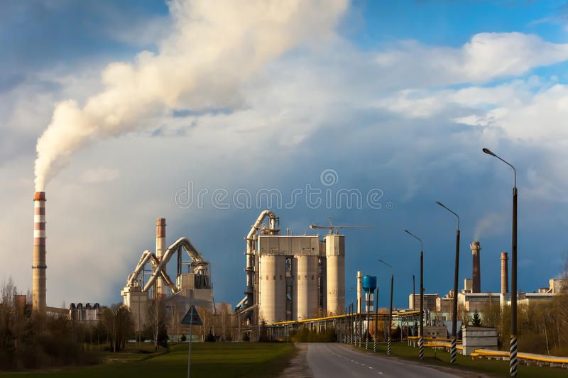 Cement factory building plant pipe. Architecture cement factory building plant pipe stock image