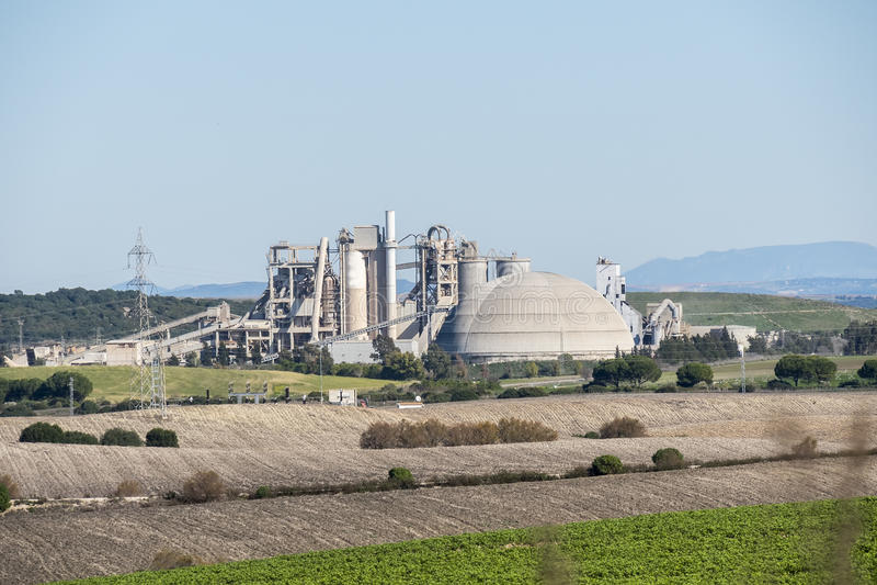 Cement factory, environmental impact, Jerez de la Frontera, Spain stock photo