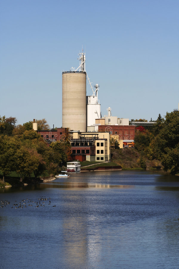 Cement Factory Near River Stock Photo. Image Of River