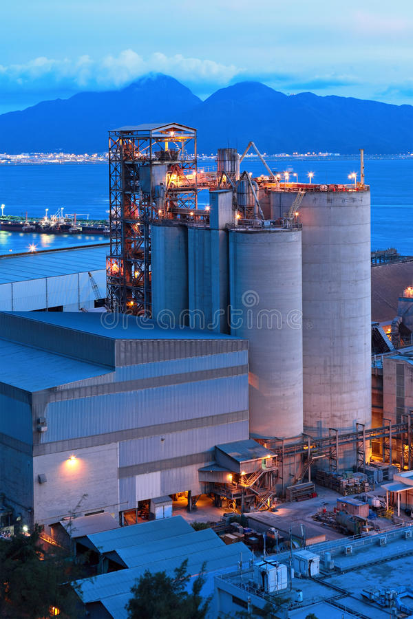 Download Cement factory at night stock image. Image of facility - 22789149