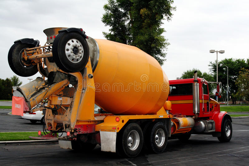 Cement mix truck. On parking lot royalty free stock photos