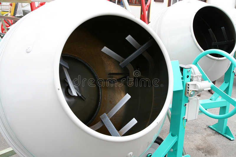 Cement mixer. Empty cement mixers on the exhibition stock photo