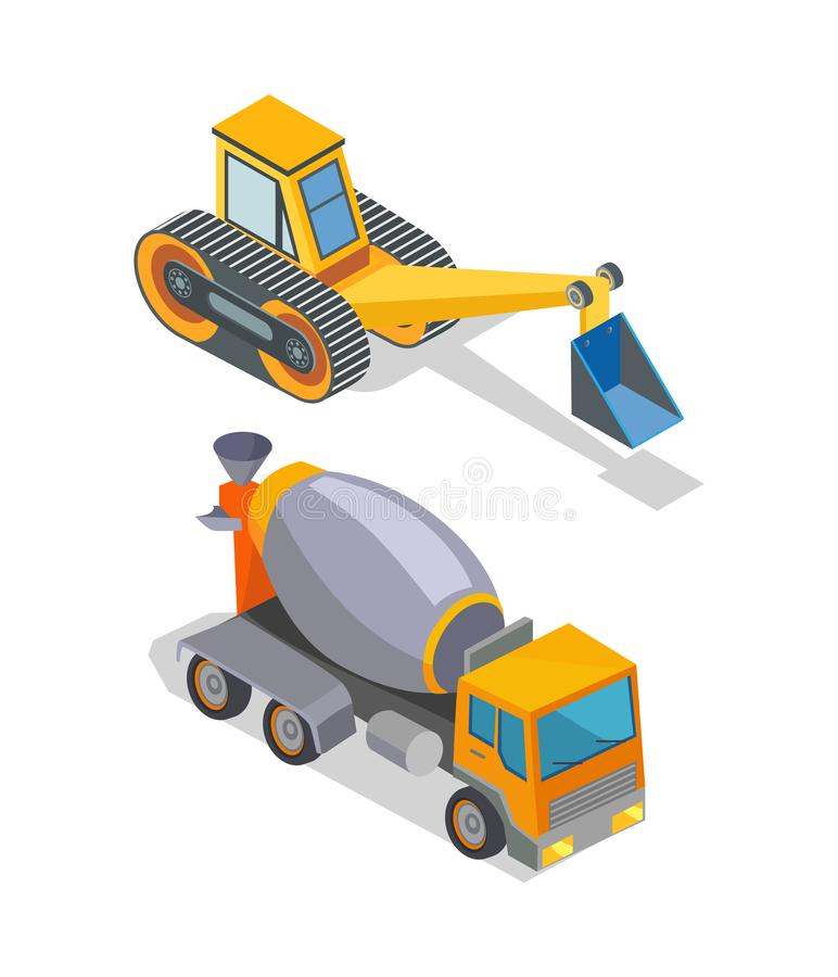 Cement Mixer and Excavator Industrial Machinery. Cement concrete mixer and excavator industrial machinery isolated icons vector. Bulldozer loader, digger with vector illustration