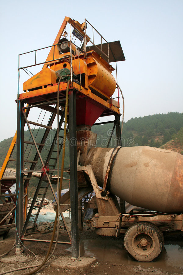 Cement mixing car. Transportation of the cement, mixer stock photo