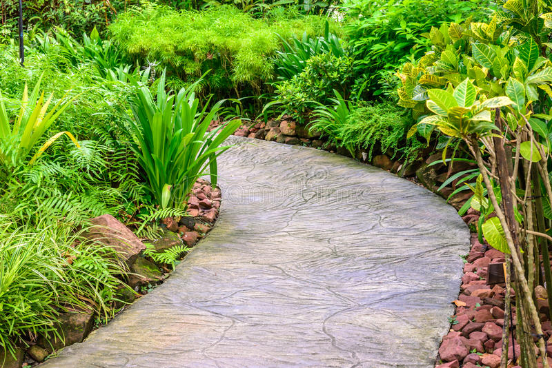Cement pathway middle of flora garden.  royalty free stock photography