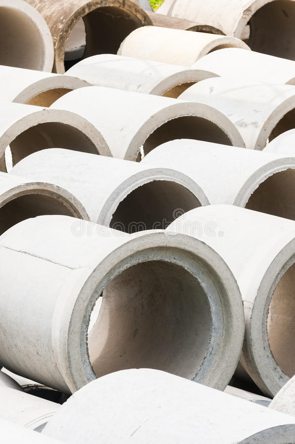 Cement pipe. For the drain on a construction site royalty free stock photo
