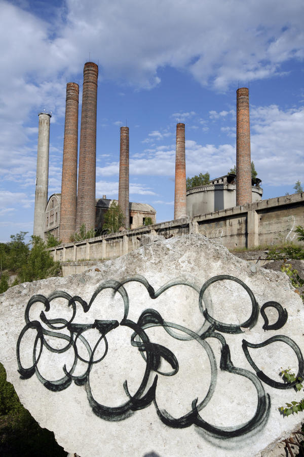Cement plant. Old cement plant in Bedzin - town in Upper Silesia - industrial discrict of Poland royalty free stock image