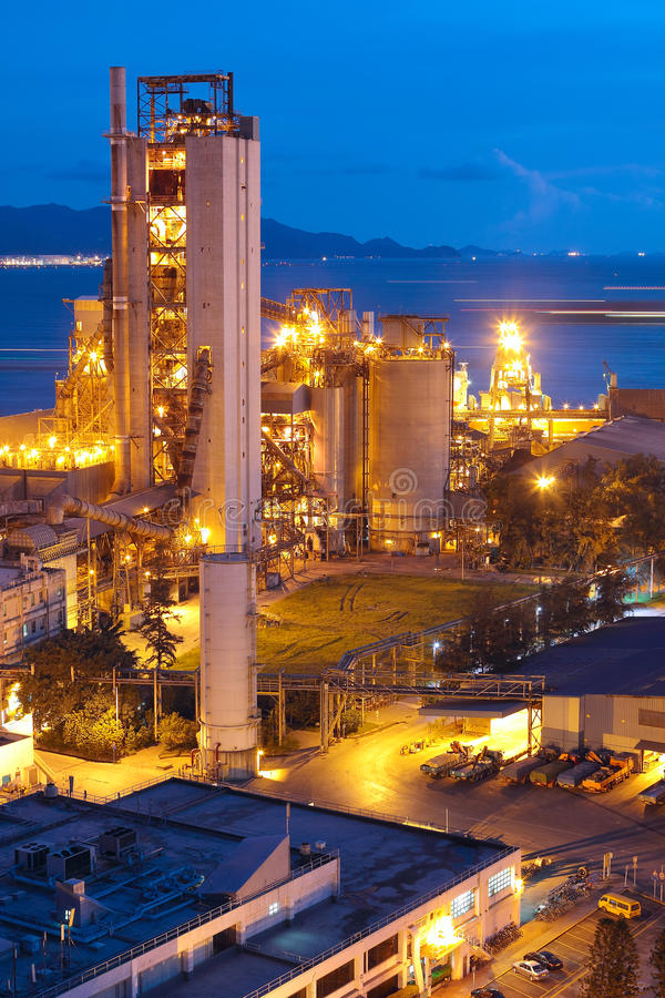 Cement Plant,Concrete or cement factory. Heavy industry or construction industry stock image