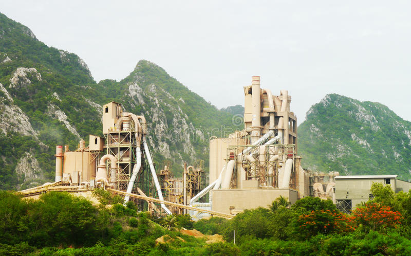 Cement Plant. Cement factory in thailand stock photography
