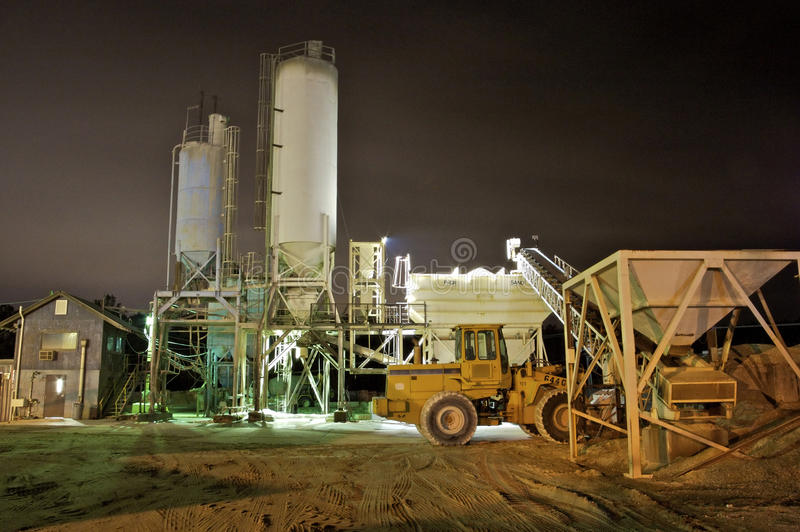Cement Plant at Night stock image