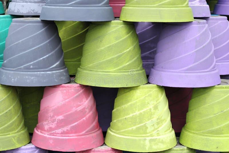 Cement Pot. Pot is mounted one by one, Cement Pot, regular, arrangement, Hand Made, plants pot, pots for sales, Pot, Color Pot, array, row, fun, colorful Pot stock photos