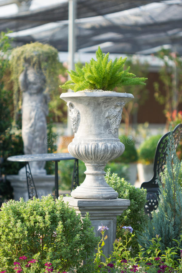 Cement pot. For flower in garden royalty free stock photo