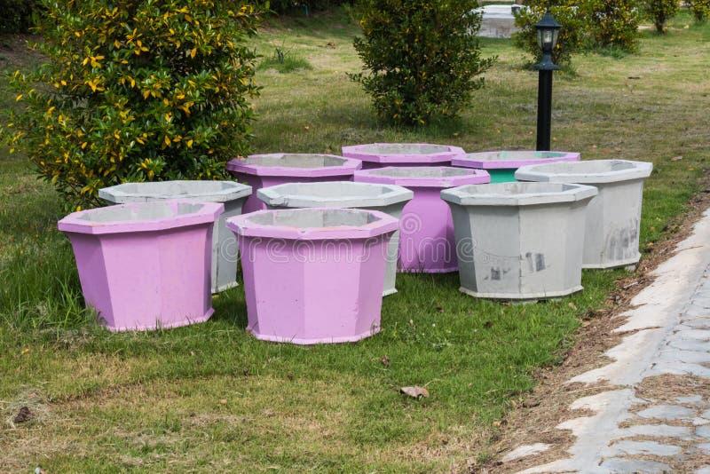 Cement pot. For plant stock photos