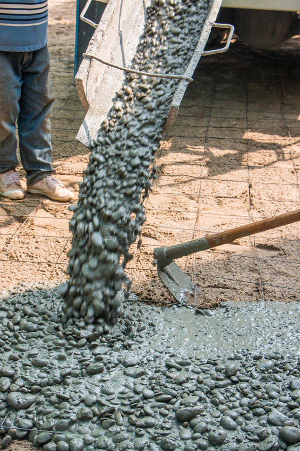 Download Cement Pour Workeru0027s Pouring A Cement Patio Stock Photo   Image Of  Patio, Industry