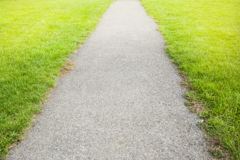 Cement road and green meadow grass. Copy space for text. Toned. royalty free stock photo