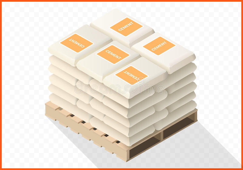 Cement sacks stacked isometric view vector illustration