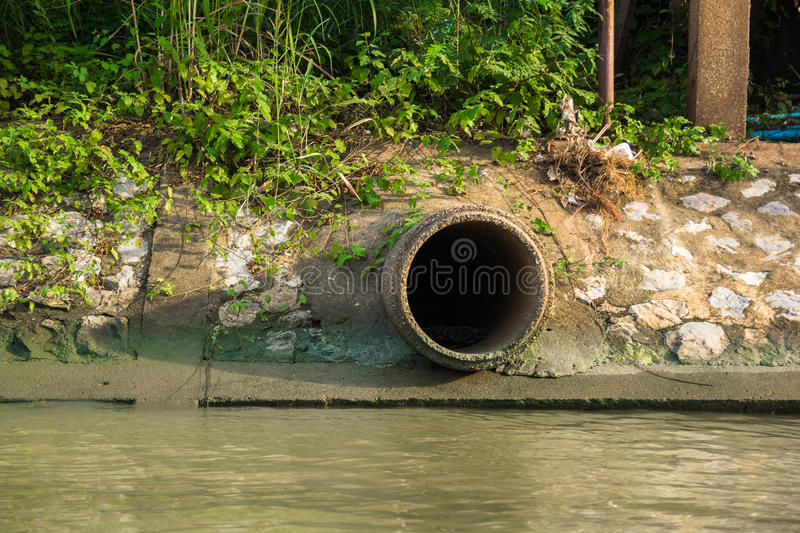 Cement sewer drain pipe stock photos