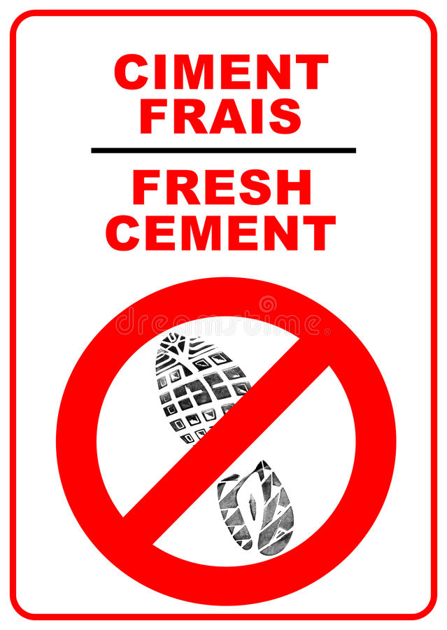 Cement sign stock photo