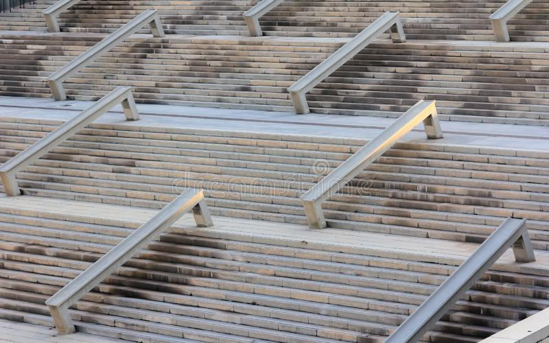 Cement staircase, concrete structure outdoors. Construction indu royalty free stock photo