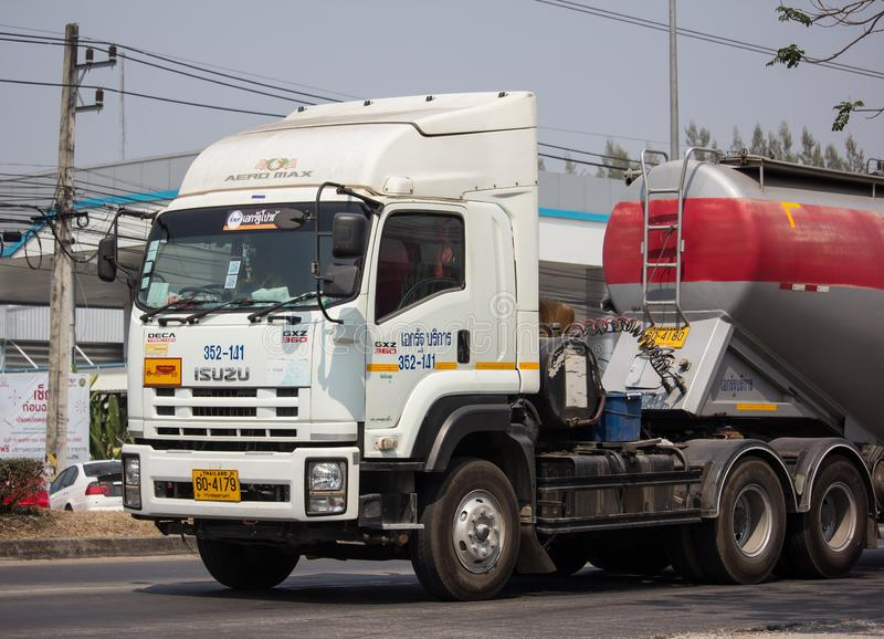 Cement Trailer truck of TLL Logistic company. Chiangmai, Thailand - February 26 2019: Cement Trailer truck of TLL Logistic company. Photo at road no.1001 about 8 royalty free stock image
