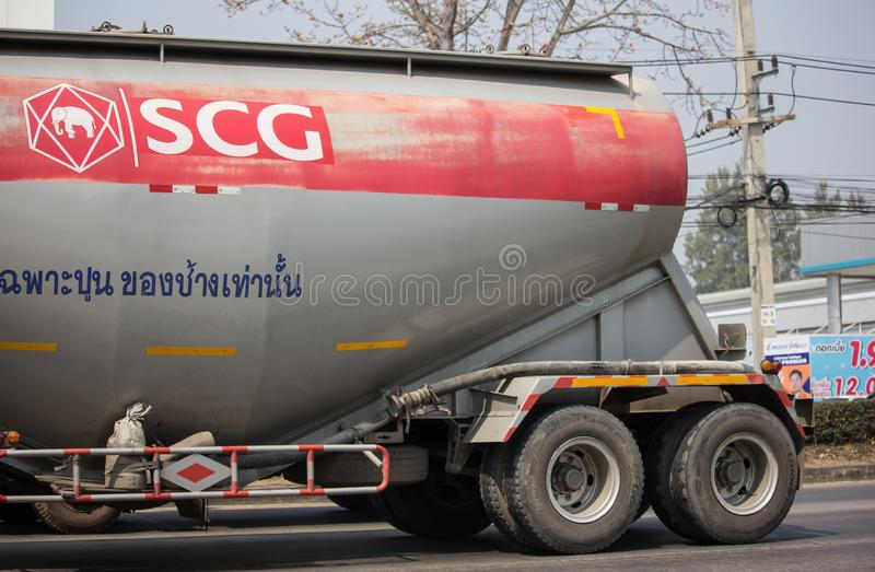 Cement Trailer truck of TLL Logistic company. Chiangmai, Thailand - February 26 2019: Cement Trailer truck of TLL Logistic company. Photo at road no.1001 about 8 royalty free stock photo