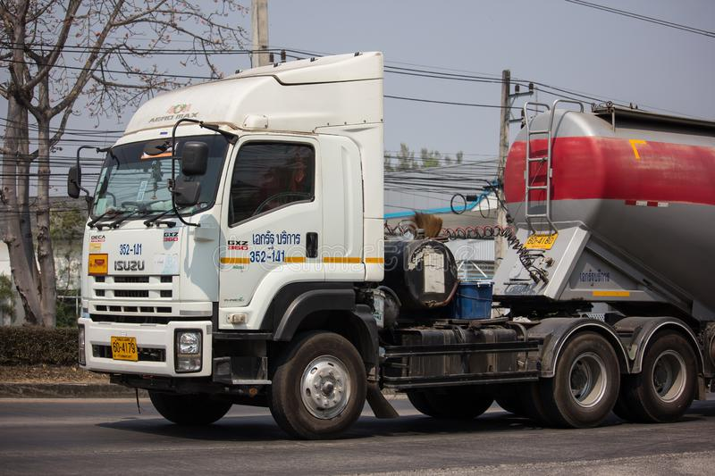 Cement Trailer truck of TLL Logistic company. Chiangmai, Thailand - February 26 2019: Cement Trailer truck of TLL Logistic company. Photo at road no.1001 about 8 stock image