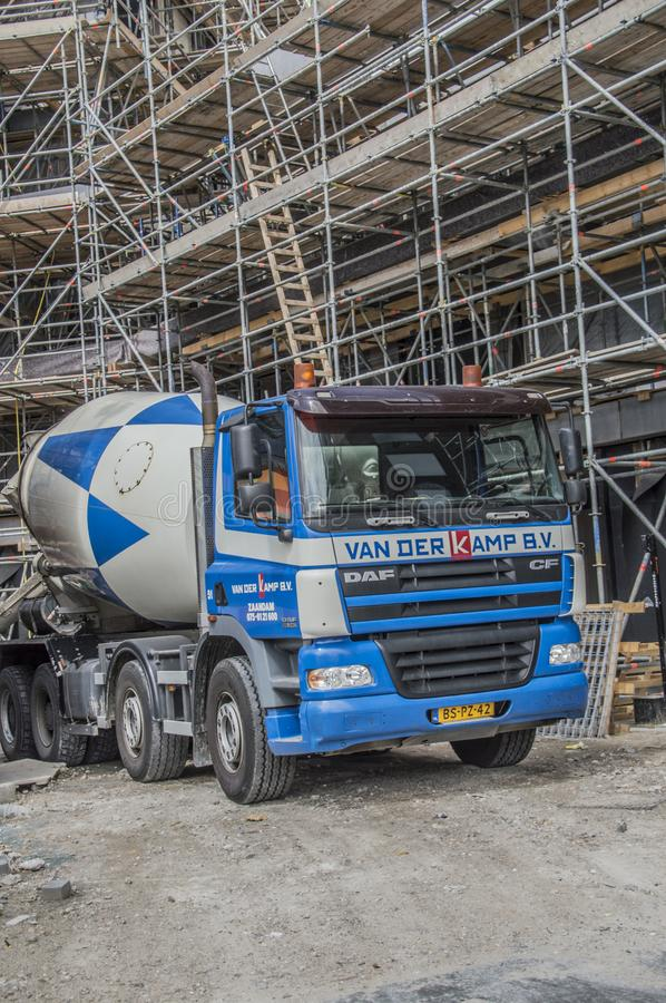 Cement Truck At Amsterdam The Netherlands stock photo