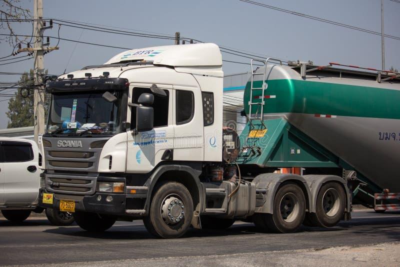 Cement truck of Boon Yarit company. Chiangmai, Thailand - March 4 2019: Cement truck of Boon Yarit company.  On road no.1001, 8 km from Chiangmai city build stock photo