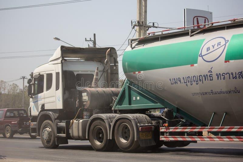 Cement truck of Boon Yarit company. Chiangmai, Thailand - March 4 2019: Cement truck of Boon Yarit company.  On road no.1001, 8 km from Chiangmai city build royalty free stock image