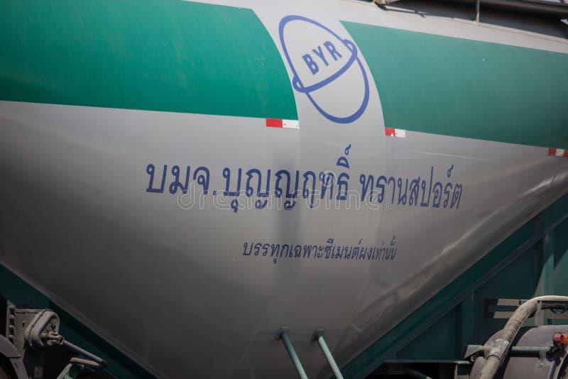 Cement truck of Boon Yarit company. Chiangmai, Thailand - March 4 2019: Cement truck of Boon Yarit company.  On road no.1001, 8 km from Chiangmai city build stock image