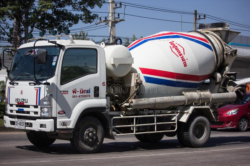 Cement truck of P Mix Concrete company stock images