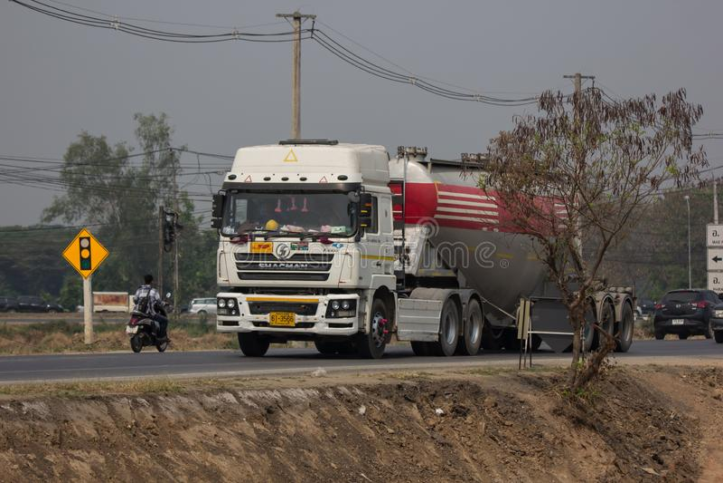 Cement truck of Phadungrit company. Chiangmai, Thailand - March 27 2019: Cement truck of Phadungrit company.  On road no.1001, 8 km from Chiangmai city build stock photo