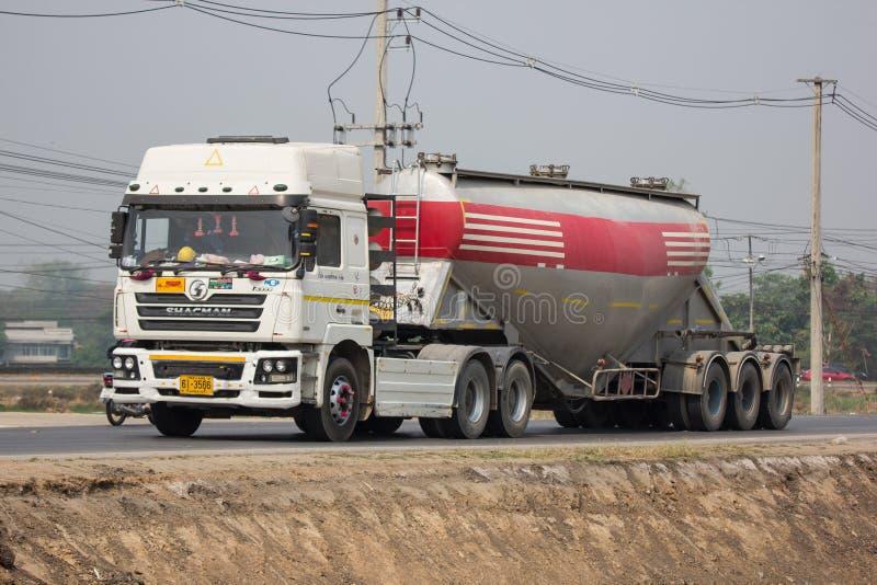 Cement truck of Phadungrit company. Chiangmai, Thailand - March 27 2019: Cement truck of Phadungrit company.  On road no.1001, 8 km from Chiangmai city build stock image
