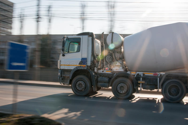 Cement truck. On the way to the building site royalty free stock photo