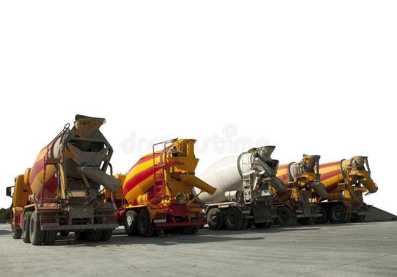 Cement Trucks. Five Cement Trucks.Isolated on white background stock photo