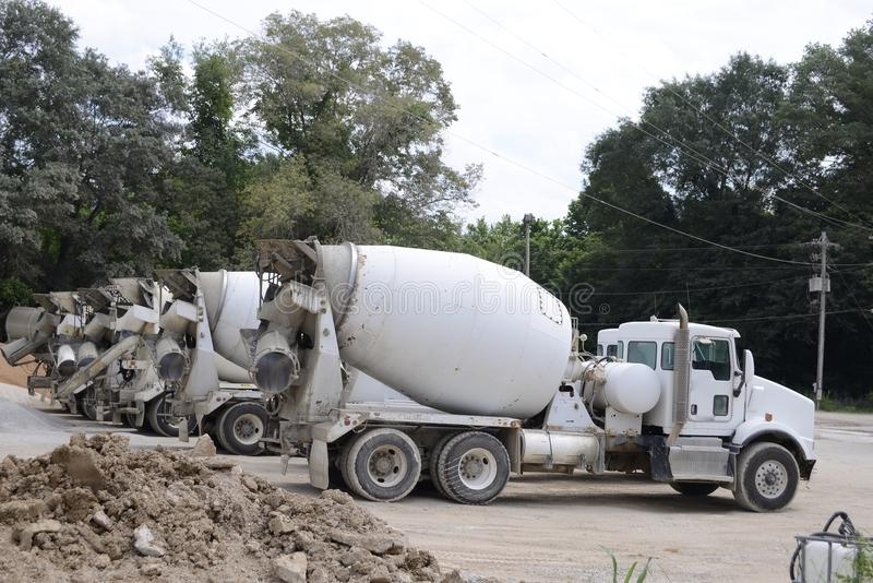 Cement Trucks at a Quarry royalty free stock image