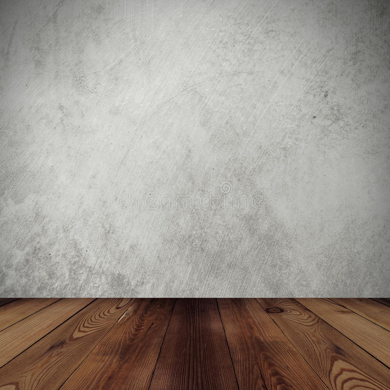Cement wall background and wood floor royalty free stock photos