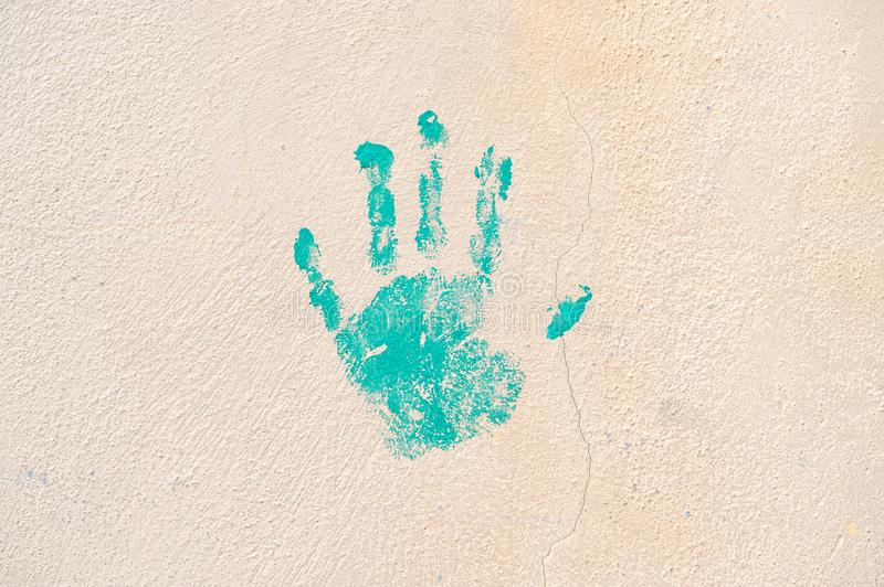 Cement wall texture handprint Digital wallpaper background royalty free stock image