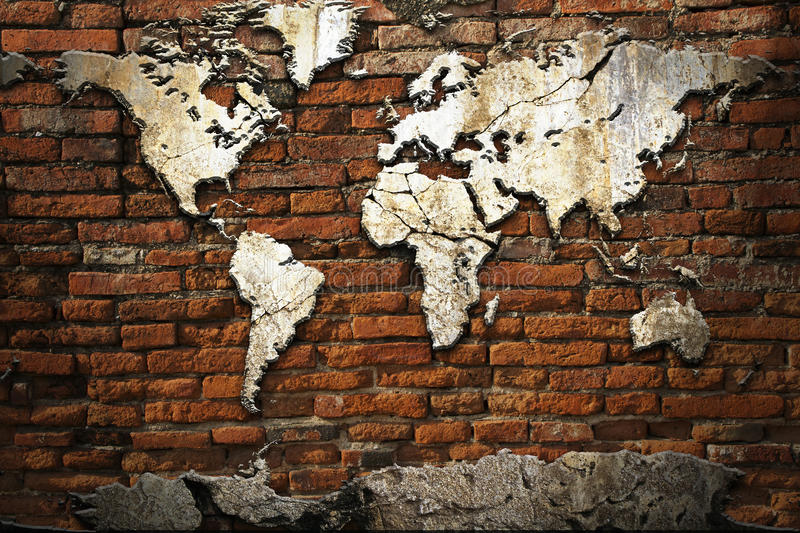 Cement world map stock image
